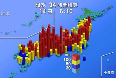 Typhoon Vongfong nationwide 24-hour rainfall amounts