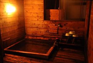 Japanese cypress hot spring at Aka-dake Kosen