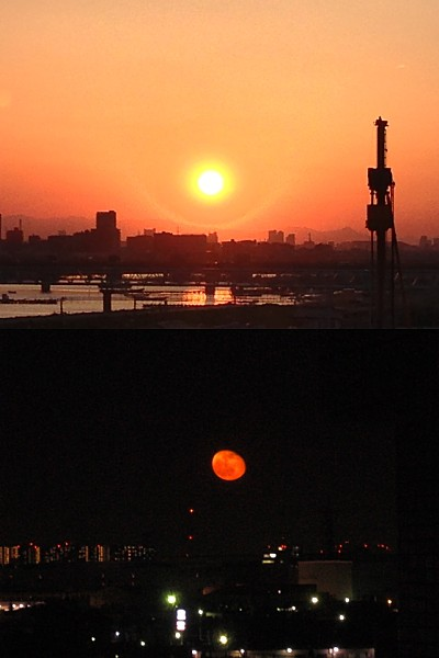 April 28, 2013 sunset & moonrise in Tokyo