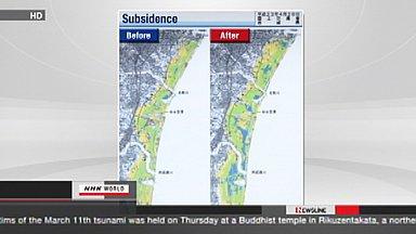 Below-sea-level land in Sendai plain