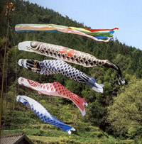 Carp streamers flown at shelter in Kesennuma