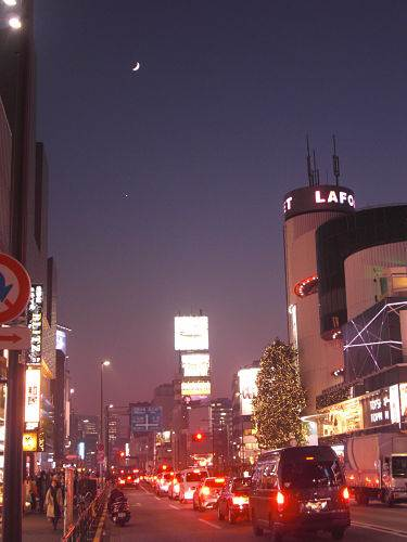 Crescent moon & Venus in Harajuku, Tokyo