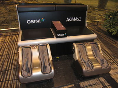 Free foot massager @ Singapore Changi Airport