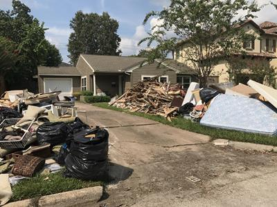 Residential flood damage debris