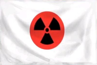 Japan flag w/ radioactivity symbol