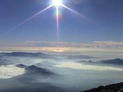 Looking east from Mt. Fuji summit after sunrise