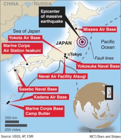 Marine Base In Japan Map.Strongest Ever Japan Earthquake And Tsunami News Updates For March