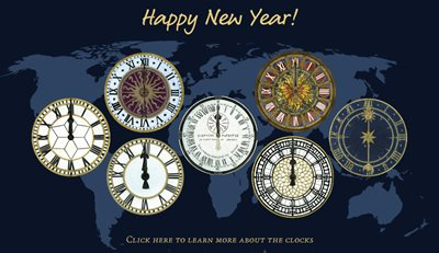 New Year's animated greeting card world clocks