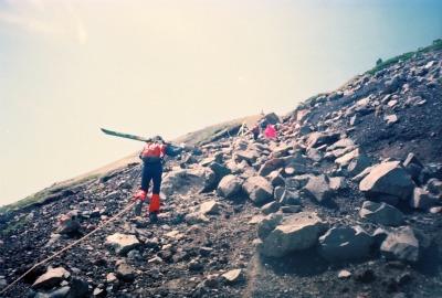 Mt. Norikura-dake hiking trail in ski boots