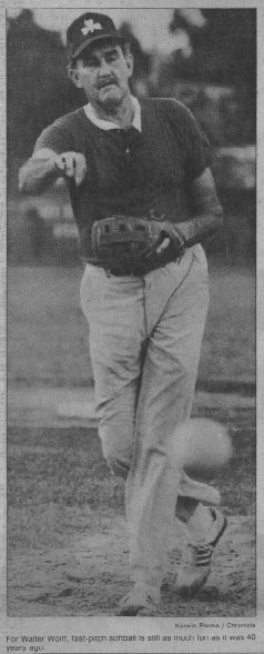 old-timer softball pitcher Walter Wolff