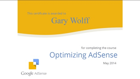 Optimizing AdSense online course certificate