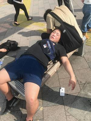 Passed out Japanese student in Tokyo