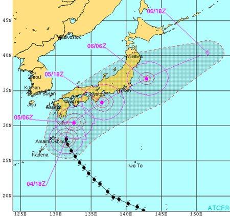 Typhoon Phanfone storm track