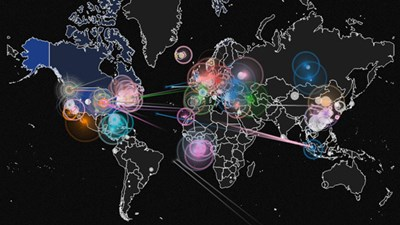 Real-time animated world hacking map