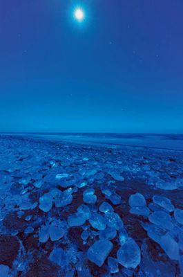 Tokachi River ice blocks