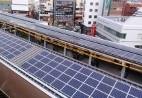 rooftop solar panels on Tozai Line's Urayasu Station