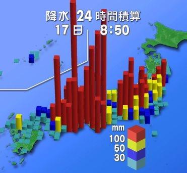 24-hour rainfall amounts for Typhoon 11 (Nangka) as of 9:10 am, July 17, 2015