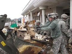 U.S. troops restore Japan train stations