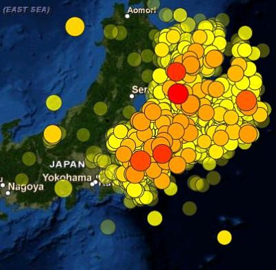 USGS Tohoku earthquake aftershock map