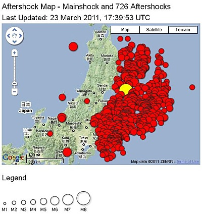 USGS Japan earthquake aftershock map
