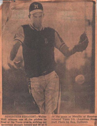 Walter Wolff, softball pitcher, Lake Charles, Louisiana