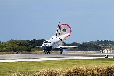 Space Shuttle Discovery touches down at KSC on its final mission