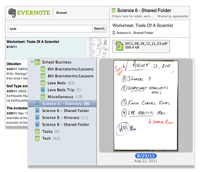 Evernote shared notebook