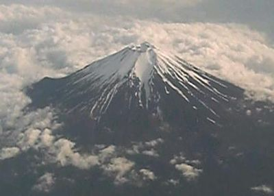 Aerial view of Mt. Fuji, Japan's highest peak