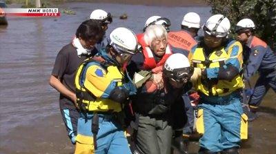 Typhoon Hagibis elderly rescue