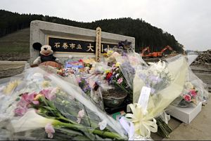 Flowers and tributes in front of Okawa Elementary School in Ishinomaki