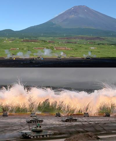 Japan's GSDF conducts exercises near Mt. Fuji