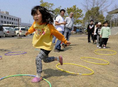 Japanese children at evacuation center