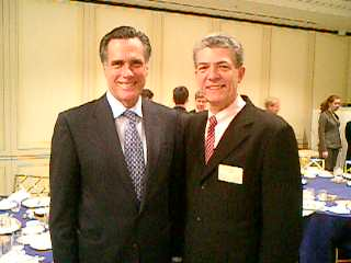 Mitt Romney with his Tokyo campaign director