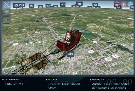 NORAD Tracks Santa over Houston, Texas