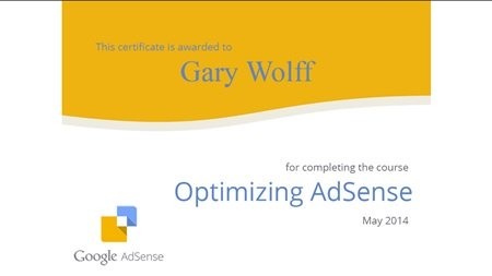 Optimizing AdSense online course certificate