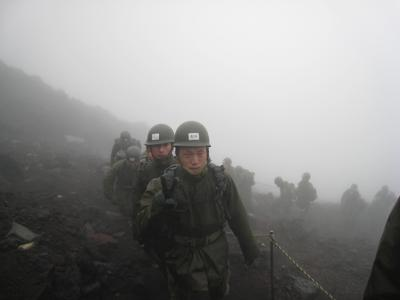 Japanese Self-Defense forces train on Mt. Fuji