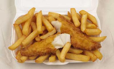 Fish and chips, a popular English food (SO DELICIOUS)