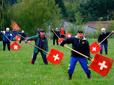 Defense team in Hornussen