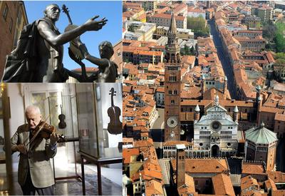 Cremona: Antonio Stradivari (top), Violinist in violin museum (bottom)