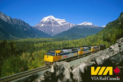 Via Rail Canada runs beside the Canadian Rocky Mountains