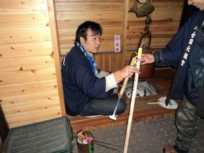Mt. Fuji Walking Sticks are Burned with Stamps<br> Representing the Station