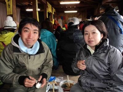 Masaya and Naomi Enjoying Soba at the Mt. Fuji Summit