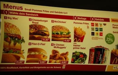 McDonald's menu in Switzerland