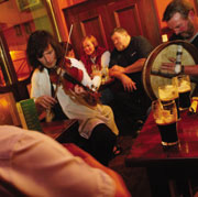 Traditional live music in an Irish pub