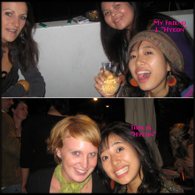 Hyeon and her friends, at the party