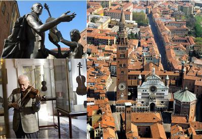 Cremona: Antonio Stradivari (top), Violinist in violin museum (bottom)