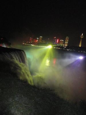 Nighttime light up of Niagara Falls