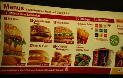 McDonald's menu in Switzerland