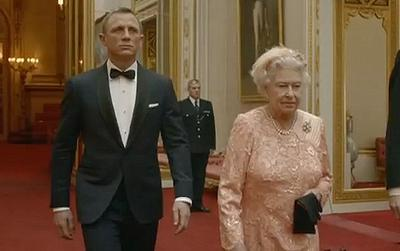 Here she is with the famous agent James Bond, at the London 2012 Olympic Games Opening Ceremony