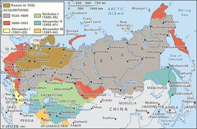 Map showing Russian expansion in different stages